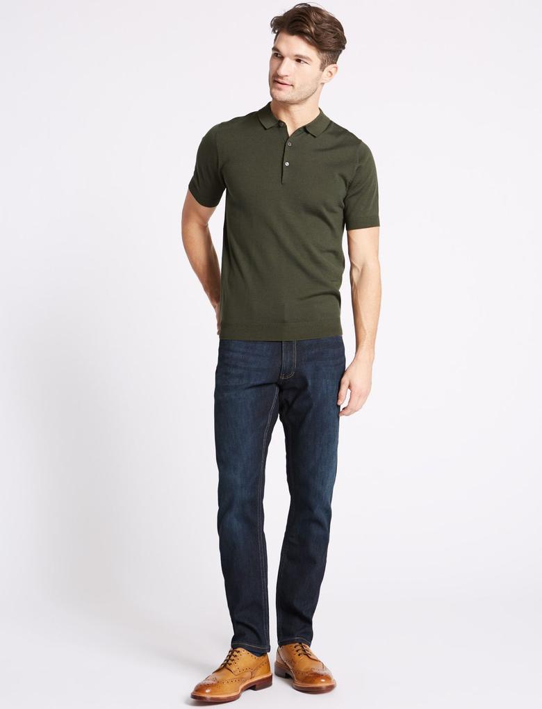 Erkek Lacivert Slim Fit Jean Pantolon