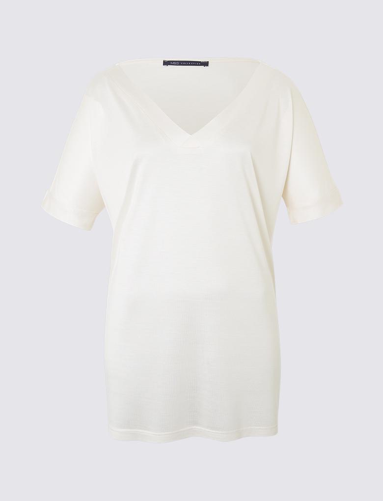 Beyaz V Yaka Kısa Kollu Mercerised T-Shirt