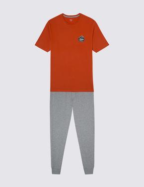 Kısa Kollu Desenli Pijama Takımı