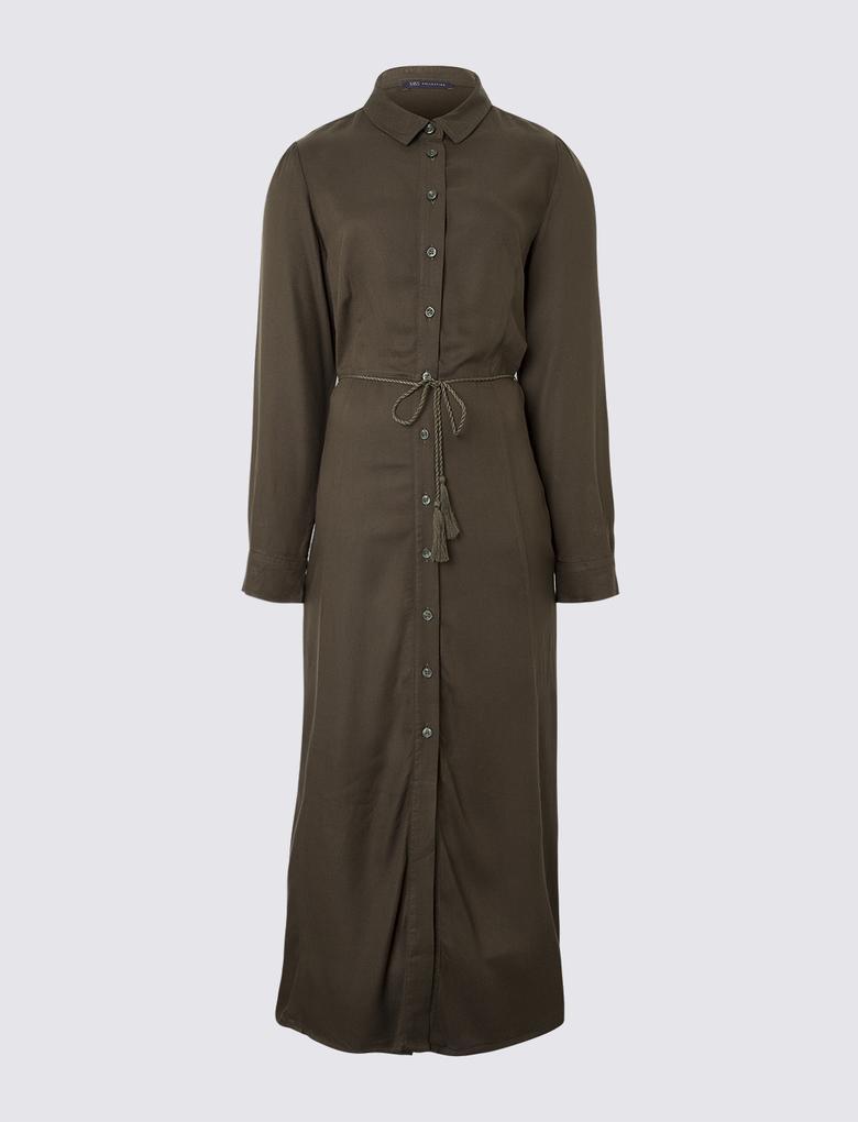 Kadın Yeşil Tencel™ Midi Elbise