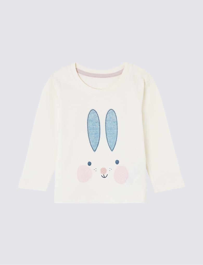 Tavşan Desenli Uzun Kollu T-Shirt