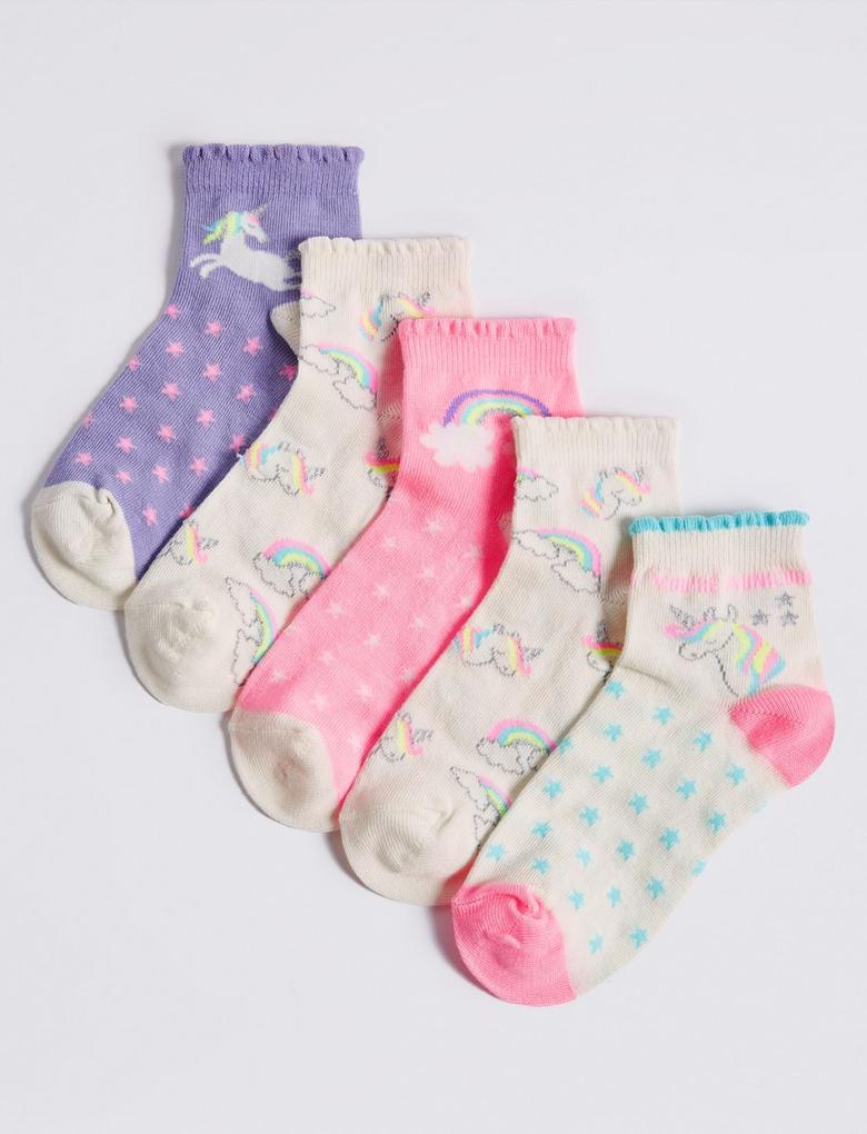 5 Çift Unicorn Ankle Çorap