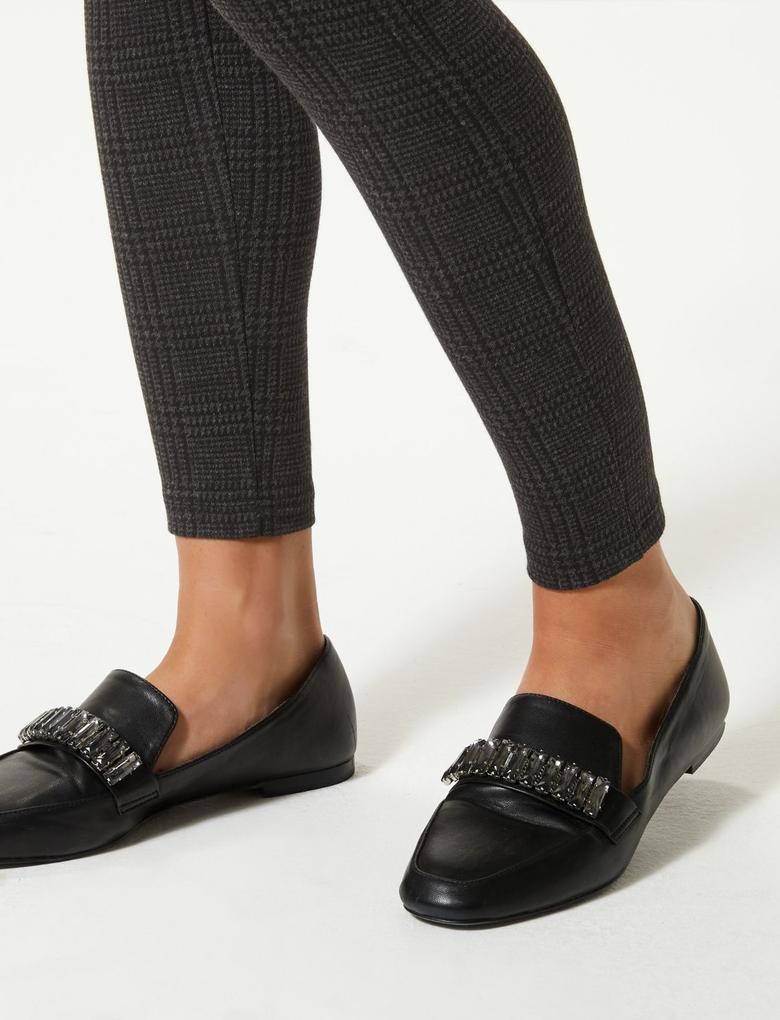Kadın Siyah Super Skinny Leg Ekose Tayt