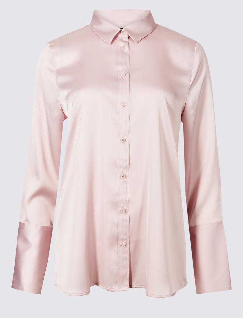 Pembe Uzun Kollu Saten Gömlek