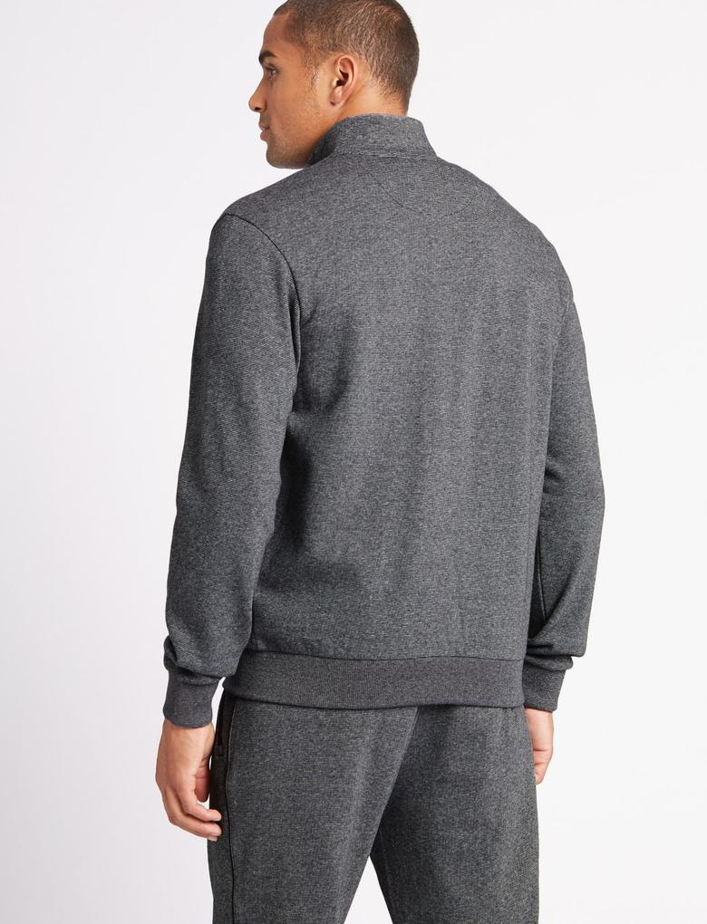 Saf Pamuklu Fermuarlı Sweatshirt