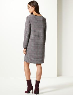 Kadın Siyah Uzun Kollu Ekose Elbise