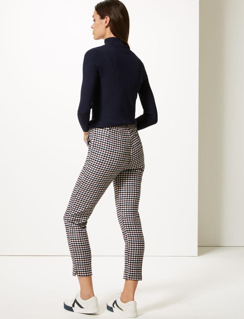 Kadın Mor Slim Leg Ekose Pantolon