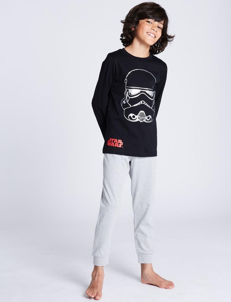 Erkek Çocuk Siyah Star Wars™ Saf Pamuklu Pijama Takımı