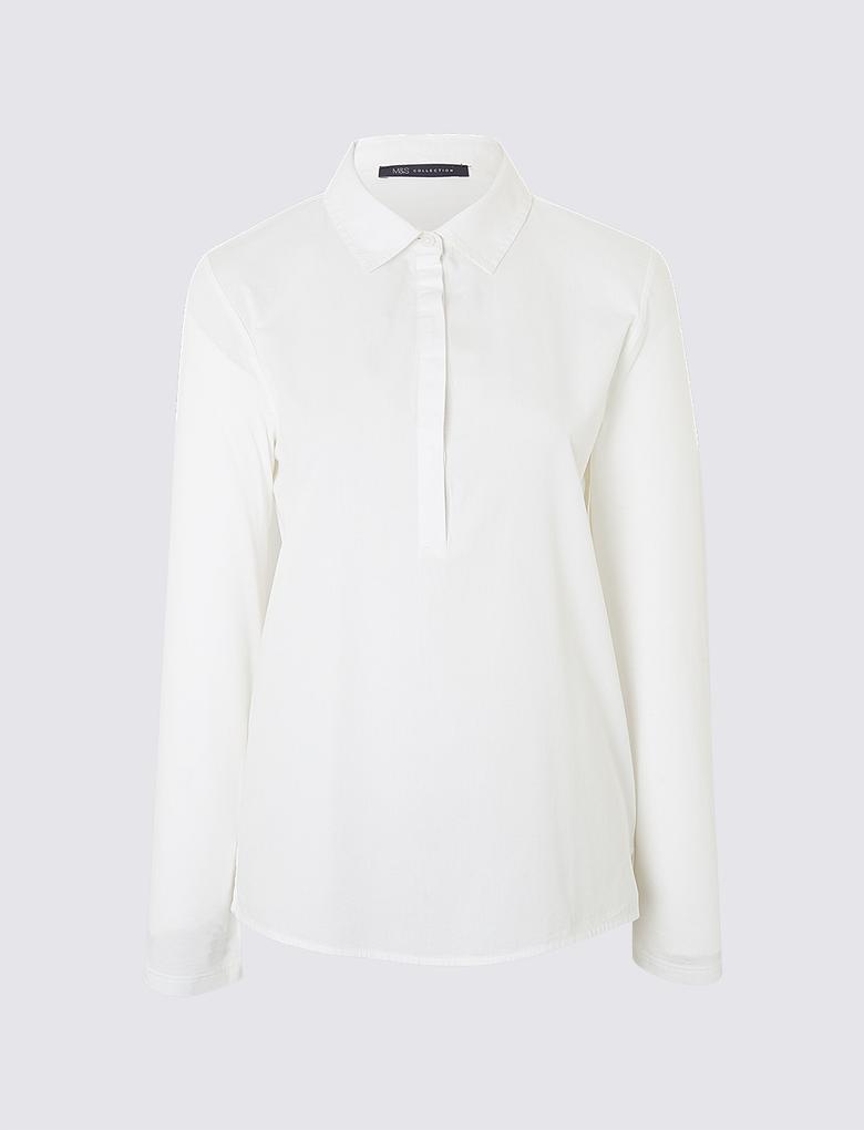 Kadın Beyaz Saf Pamuklu Jarse Arkalı Gömlek