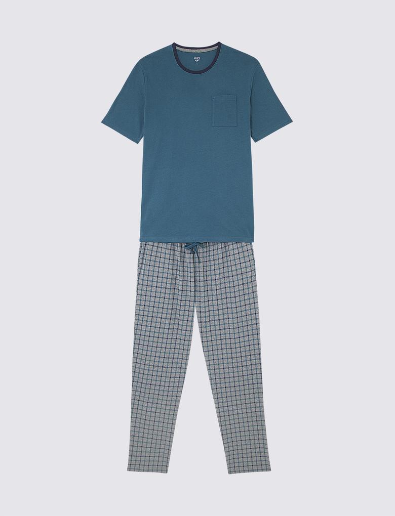 Kısa Kollu Ekose Pijama Takımı