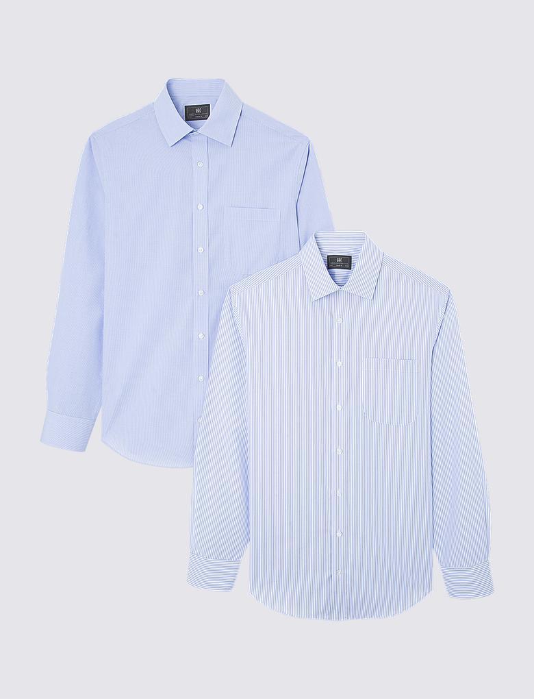 Mavi 2'li Cepli Uzun Kollu Gömlek