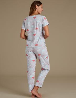 Bulut Desenli Pamuklu Pijama Takımı