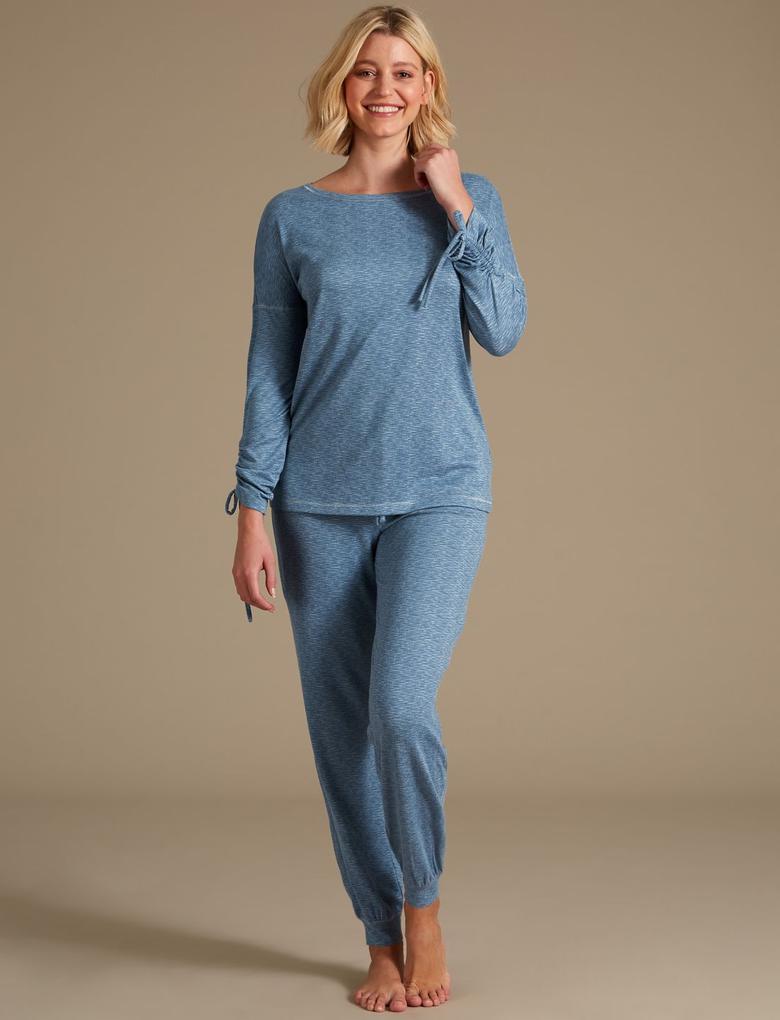 Mavi Uzun kollu Pijama Üstü