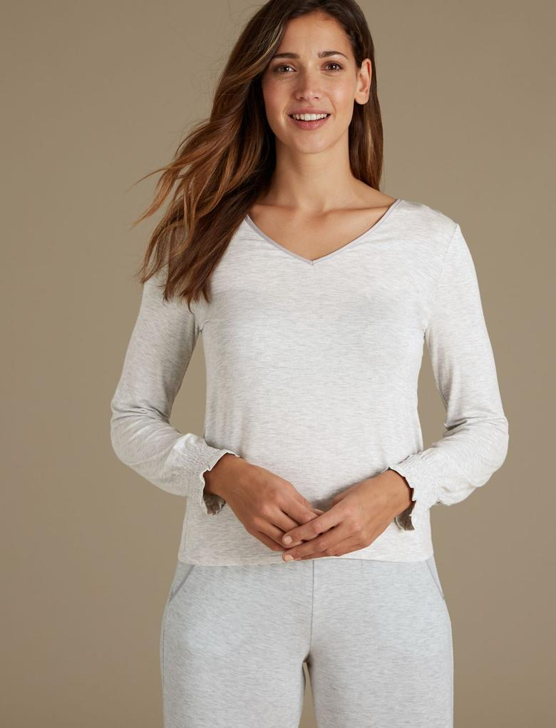 Kadın Gri V Yaka Uzun Kollu Pijama Üstü