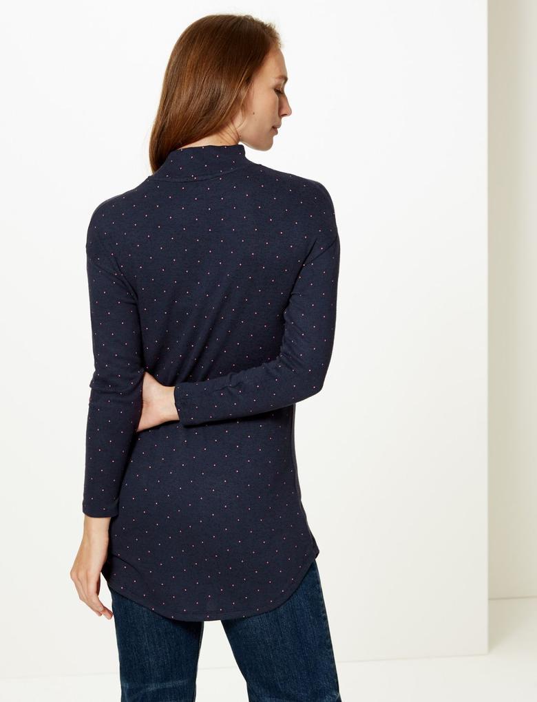 Kadın Lacivert Uzun Kollu Bluz