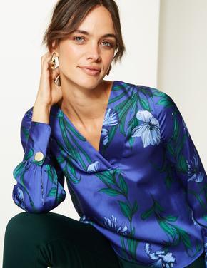 Çiçek Desenli Uzun Kollu V Yaka Saten Bluz