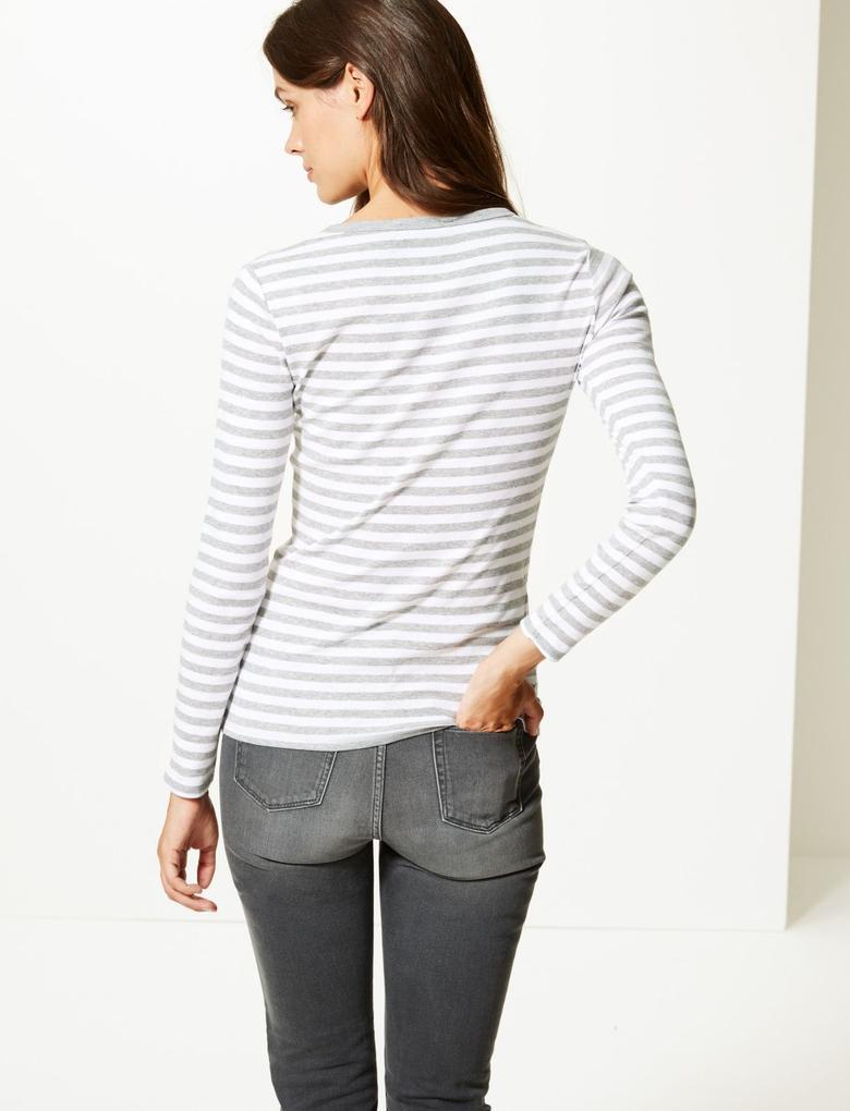 Gri Saf Pamuklu Uzun Kollu Çizgili T-Shirt