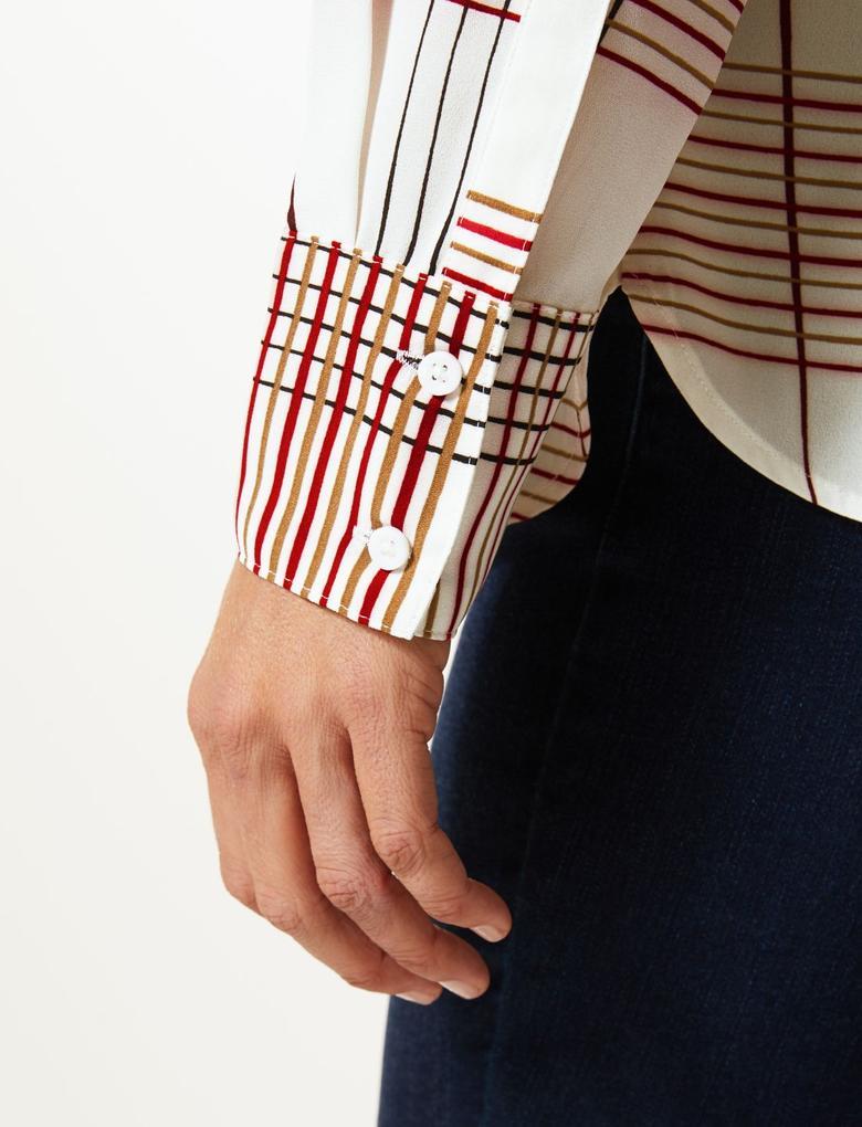 Kadın Krem Uzun Kollu Ekose Gömlek