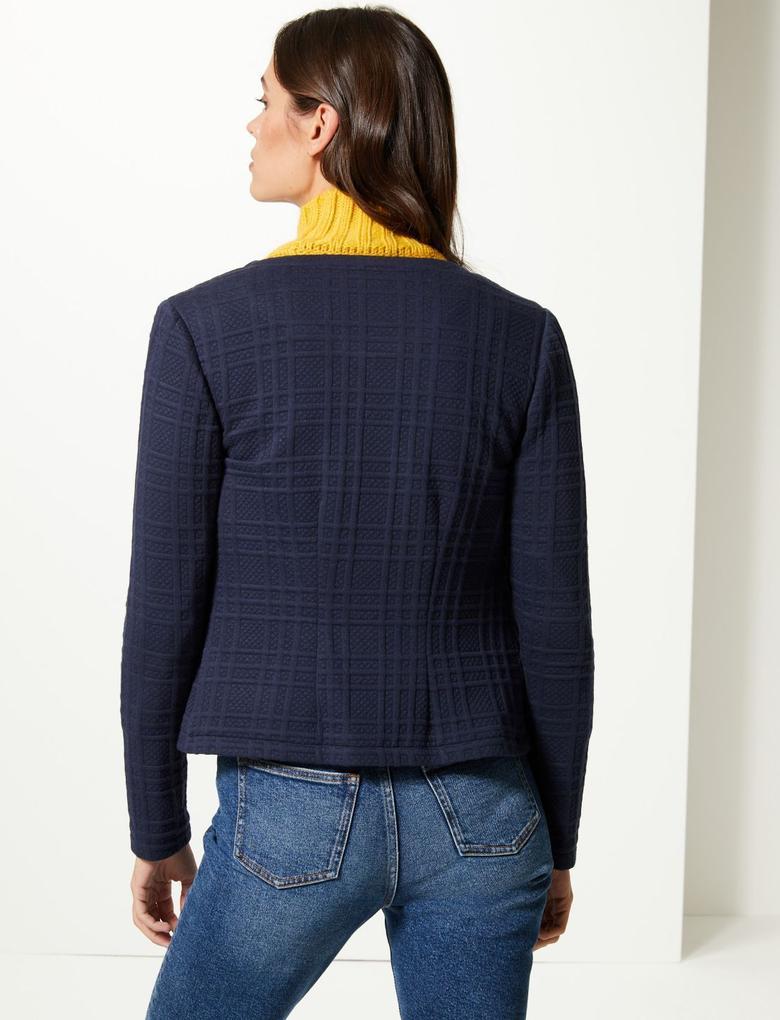 Lacivert Jarse Blazer Ceket