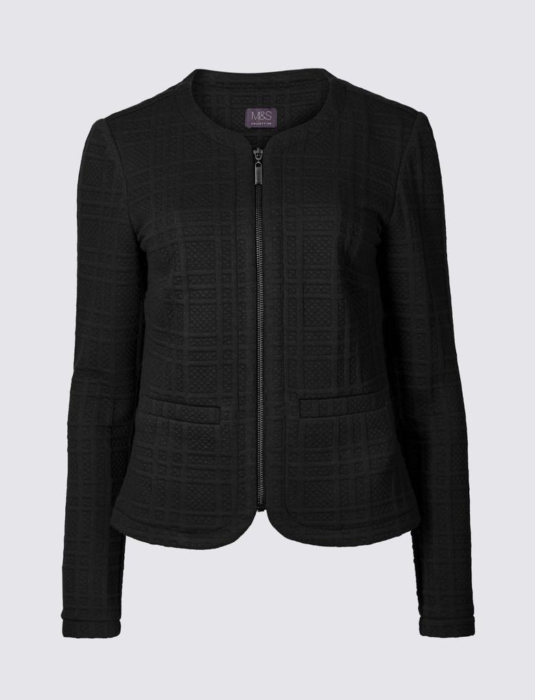 Siyah Jarse Blazer Ceket