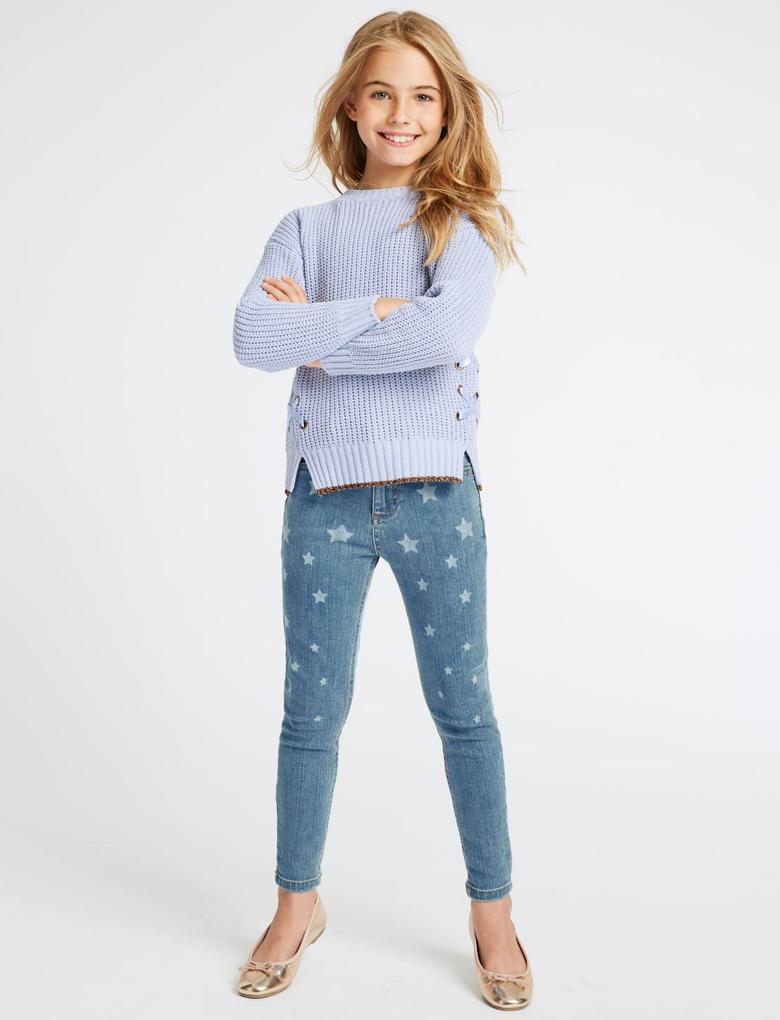 Kız Çocuk Mavi Pamuklu Streç Jean Pantolon