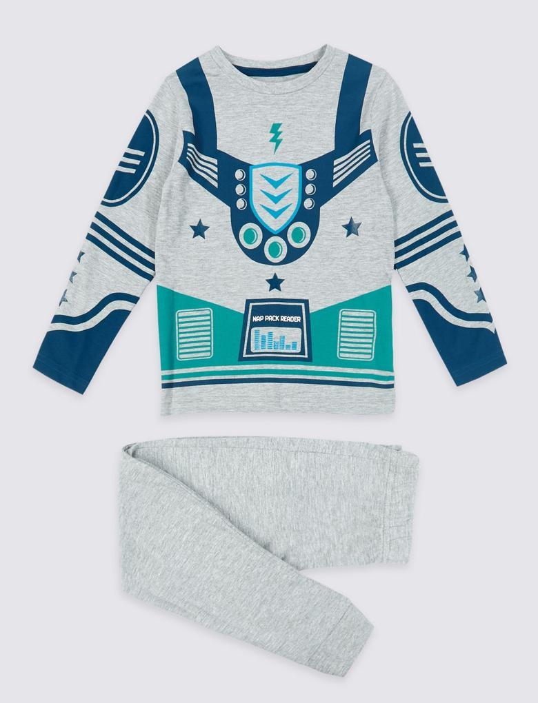 Gri Pamuklu Pijama Takımı