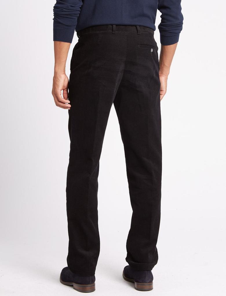 Siyah Regular Fit Saf Pamuklu Pantolon