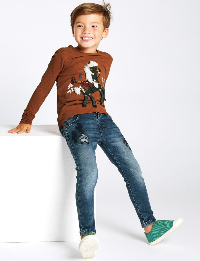 Erkek Çocuk Mavi Pamuklu Skinny Jean Pantolon