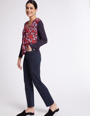 Kadın Lacivert Roma Rise Straight Leg Jean Pantolon