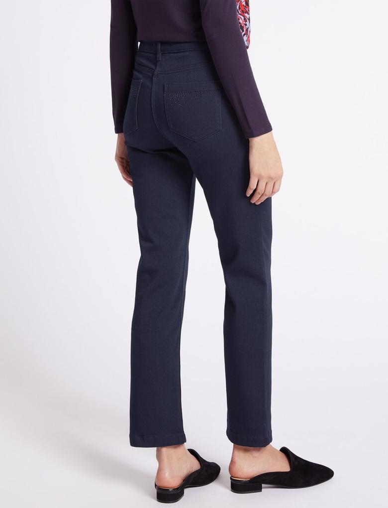 Kadın Mor Roma Rise Straight Leg Jean Pantolon