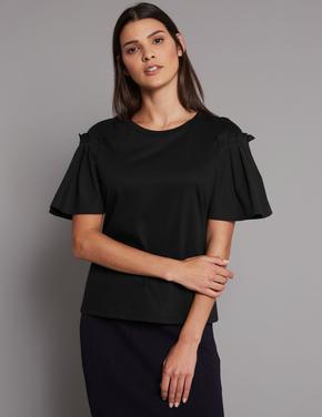 Kadın Siyah Saf Pamuklu Yuvarlak Yaka T-Shirt