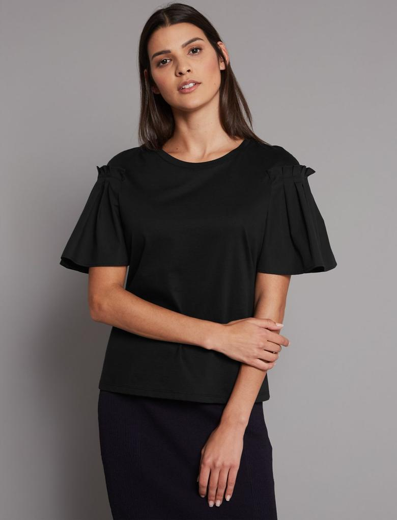 Siyah Saf Pamuklu Yuvarlak Yaka T-Shirt