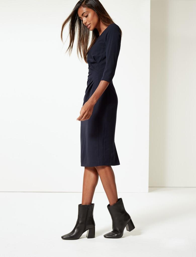 Lacivert 3/4 Kollu Midi Elbise