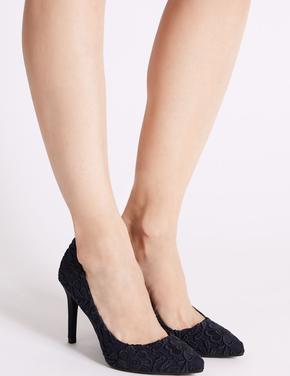 İşlemeli Topuklu Stiletto