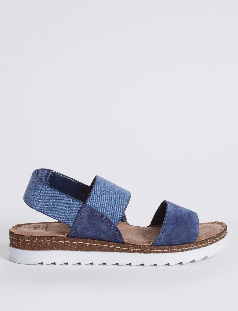 Mavi Süet Sandalet