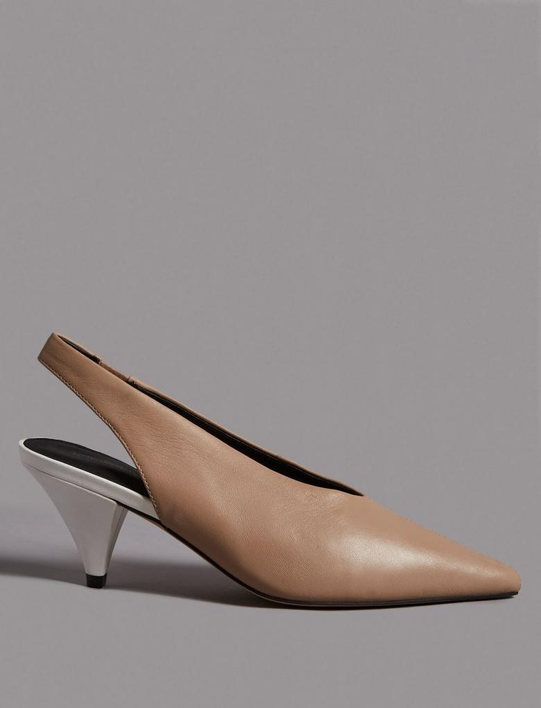 Kadın Kahverengi Topuklu Üçgen Deri Ayakkabı