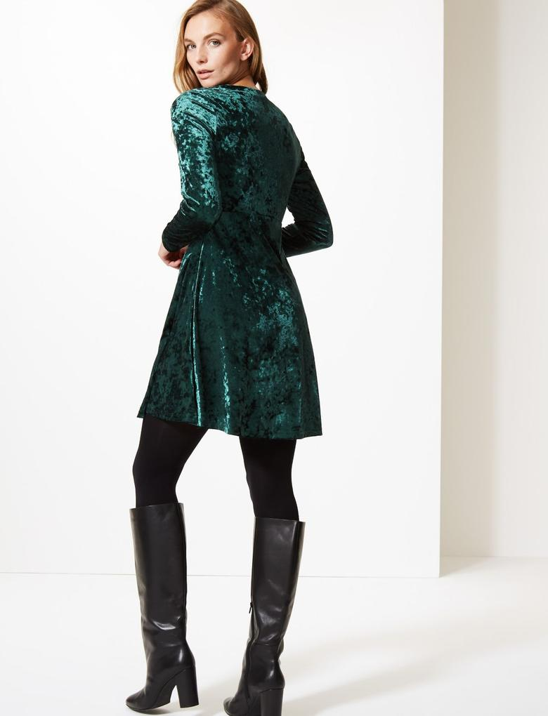 Kadın Yeşil Uzun Kollu Kadife Elbise