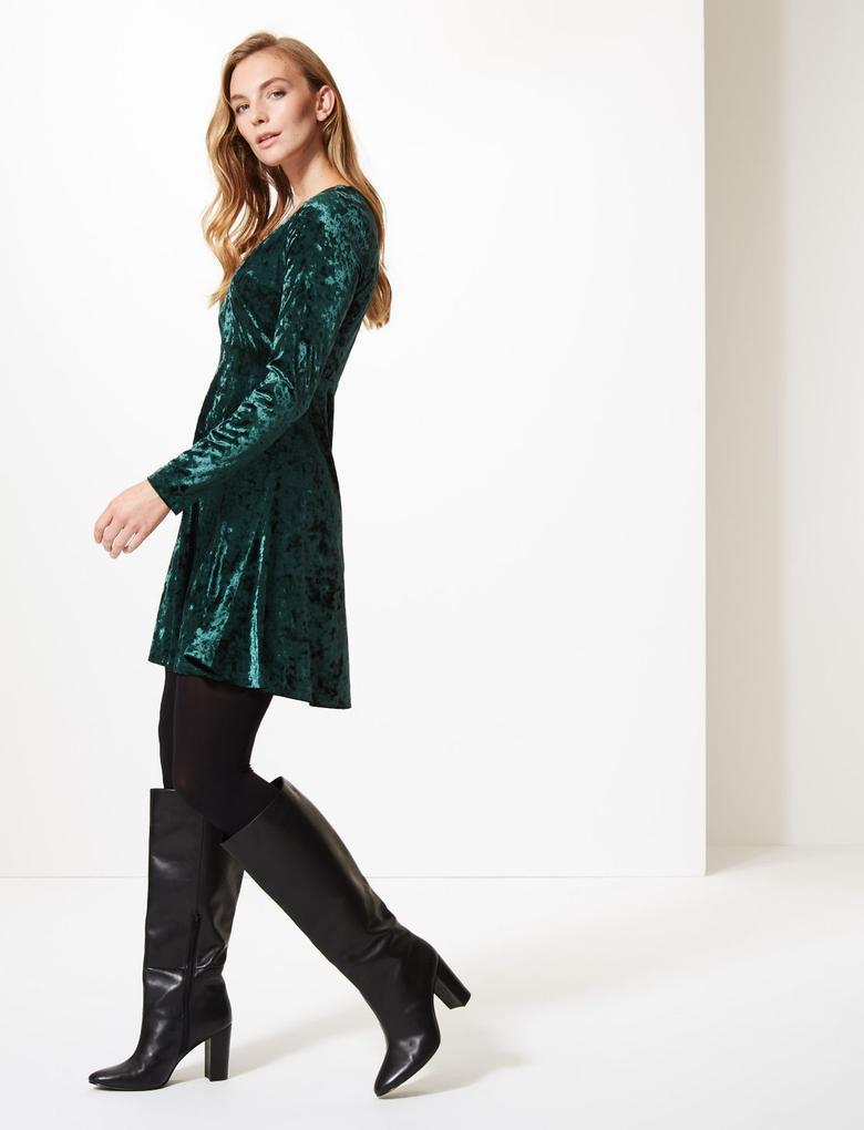 Yeşil Uzun Kollu Kadife Elbise