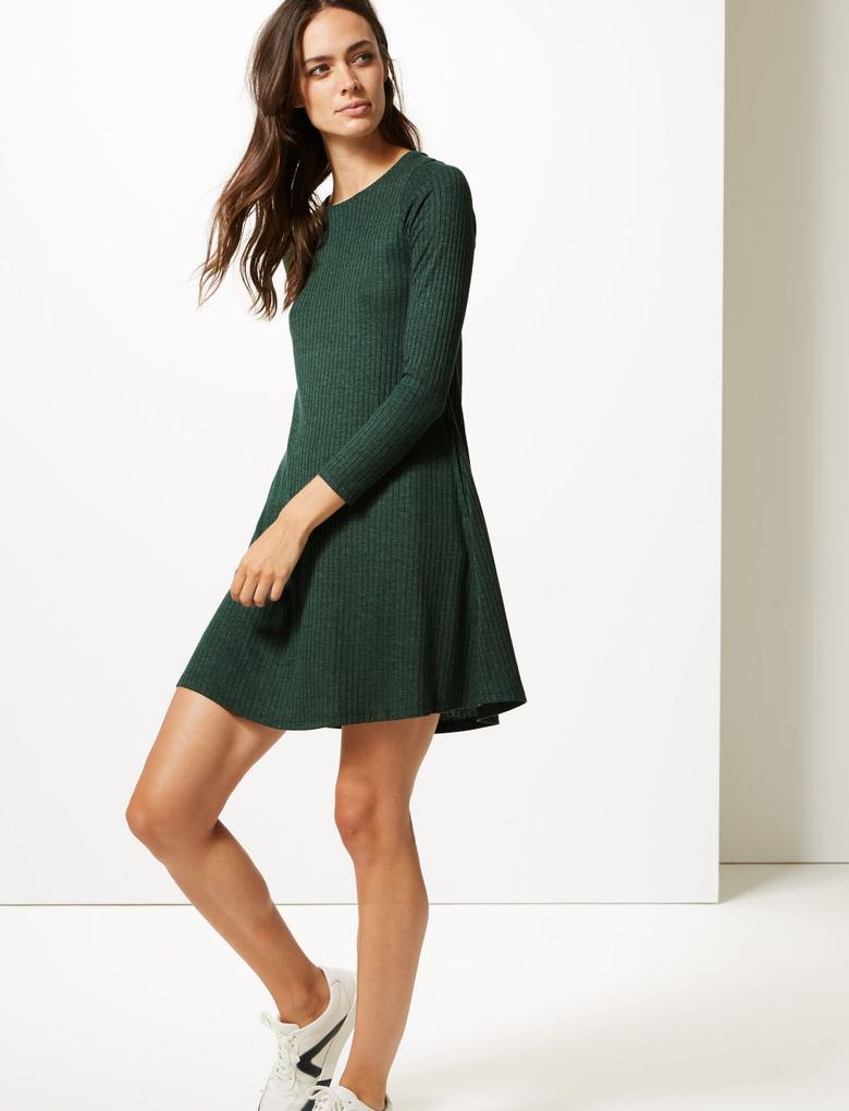 Kadın Yeşil Uzun Kollu Elbise