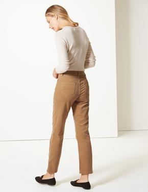 Orta Belli  Kadife Straight Leg Jean Pantolon