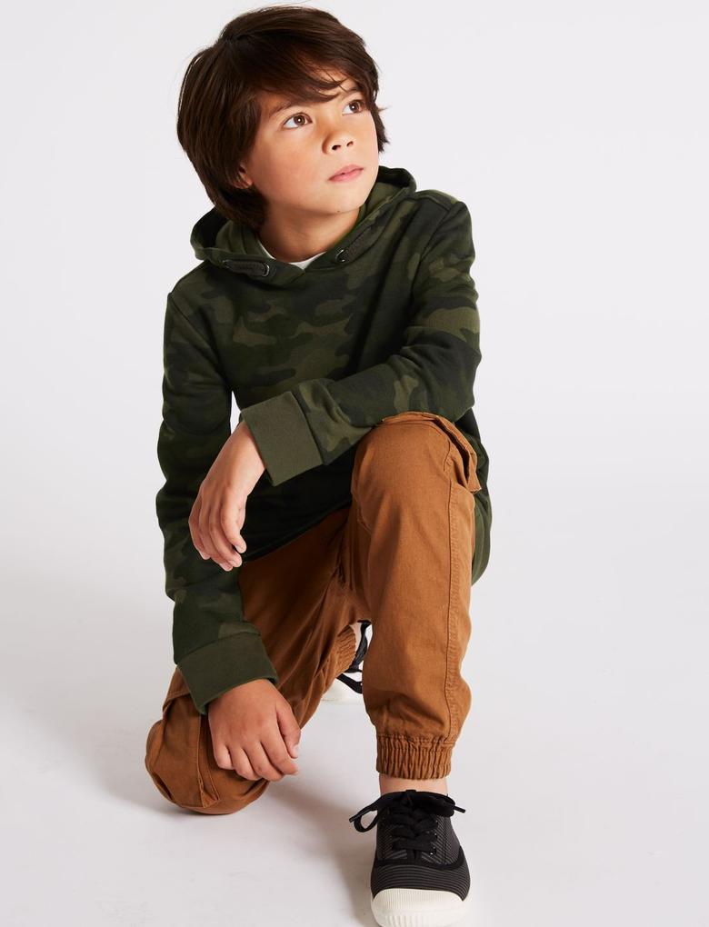 Erkek Çocuk Yeşil Pamuklu Sweatshirt