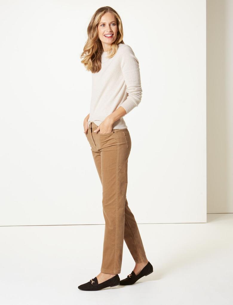 Kahverengi Orta Belli  Kadife Straight Leg Jean Pantolon