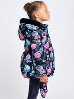 Kız Çocuk Lacivert Çiçek Desenlİ Dolgulu Mont