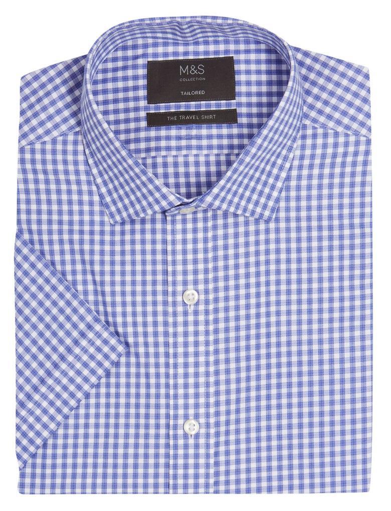 Erkek Mavi Pamuklu Ütü Gerektirmeyen Tailored Fit Gömlek