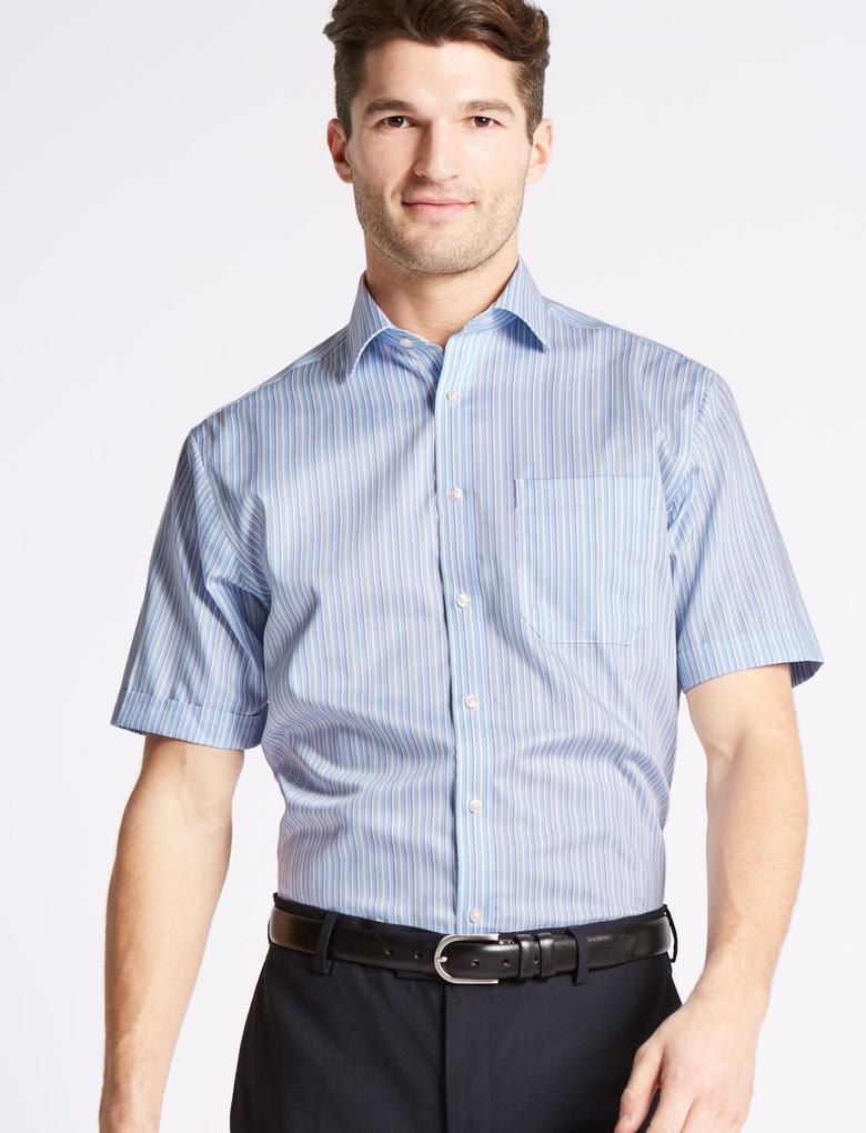 Kısa Kollu Ütü Gerektirmeyen Regular Fit Gömlek