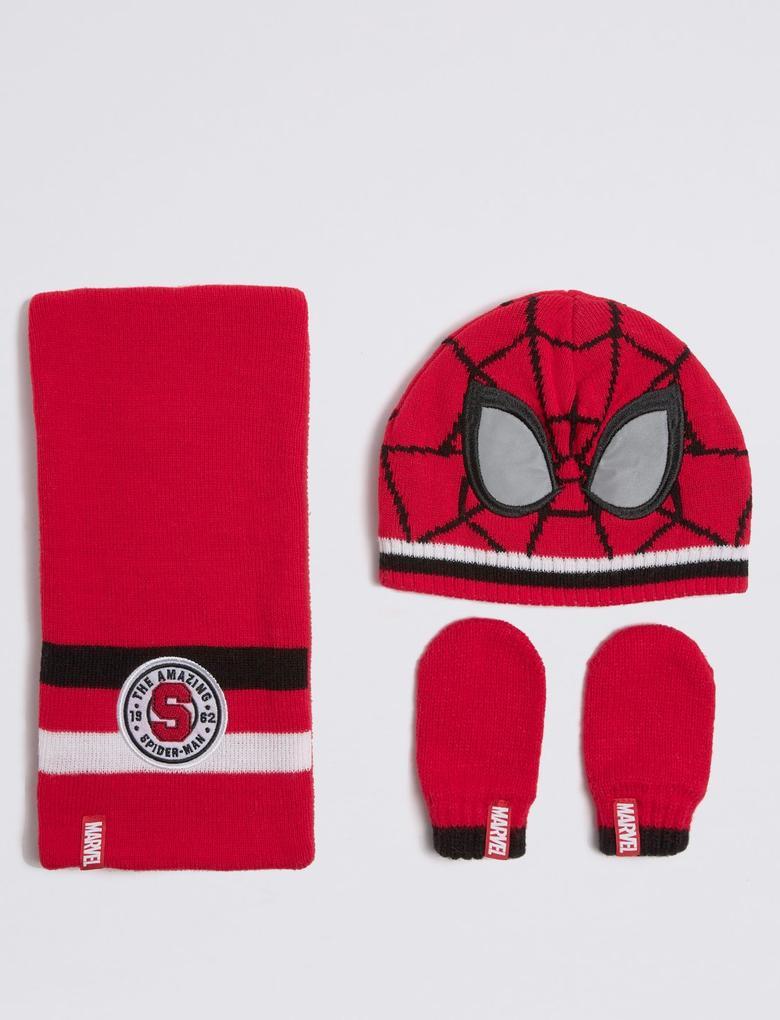 Erkek Çocuk Kırmızı Spider Man™ Atkı, Bere ve Eldiven Takımı