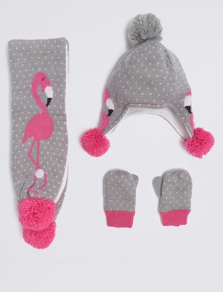 Flamingo Desenli Bere, Atkı ve Eldiven Takımı