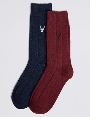 2'li Termal Yünlü İşlemeli Çorap Seti
