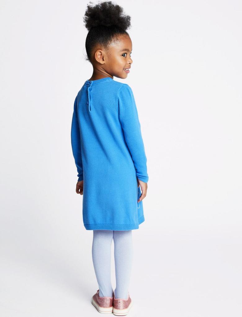 Mavi 2 Parça Elbise ve Külotlu Çorap Takımı
