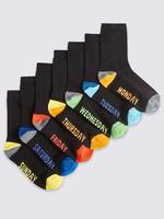Siyah 7'li Haftanın Günleri Desenli Çorap